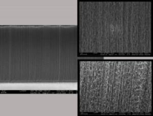 """""""This montage includes images of carbon nanotube forests. New research explains why the CNT forests have less stiffness than expected. (Credit: Images courtesy of Justin Chow)"""""""