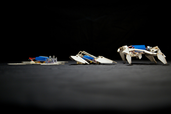 "From MegaOm.com: ""An origami robot transforming from flat to 3D. Photo courtesy of Seth Kroll, Wyss Institute."""