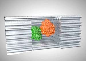Individual enzymes (orange and green) are first attached to half-cage structures. Half cages are then assembled into full cages, where reactants are brought into close proximity. Credit: Jason Drees for the Biodesign Institute, Arizona State University