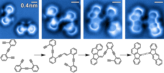 Identification of reactants, transient intermediates, and products in a bimolecular enediyne coupling and cyclization cascade on a silver surface by non-contact atomic force microscopy. The corresponding chemical structures are depicted below the nc-AFM images. Image credit: A. Riss, adapted from DOI: 10.1038/nchem.2506
